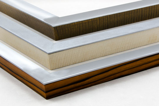 flat welded aluminum picture frames with hardwood veneer