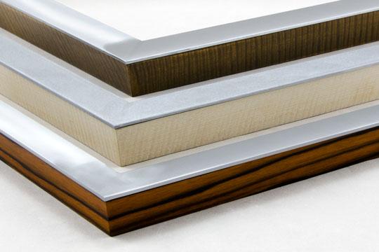 flat welded aluminum picture frames with hardwood veneer