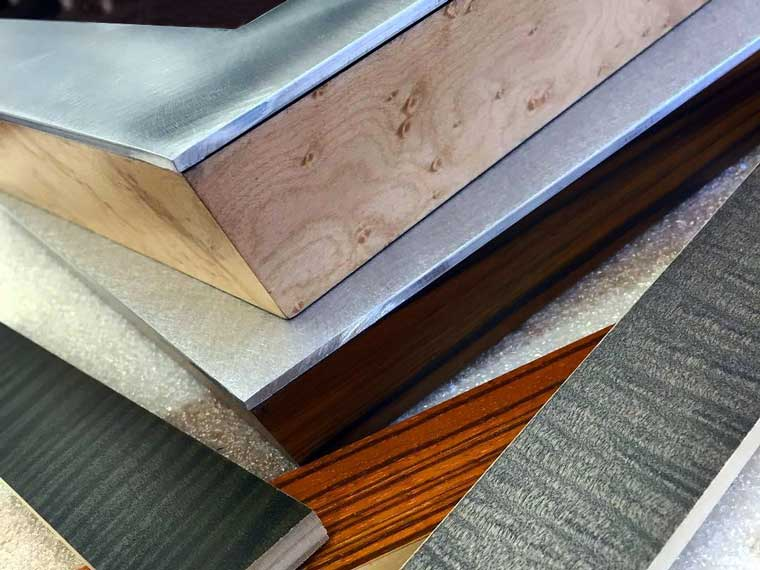 aluminum and exotic wood veneer picture frames